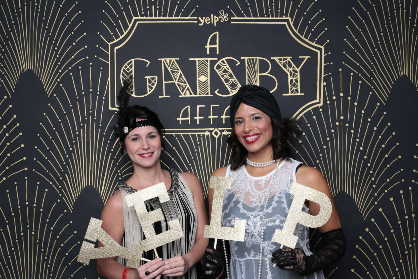 A Gatsby Affair hand painted backdrop for Yelp Orlando winter party