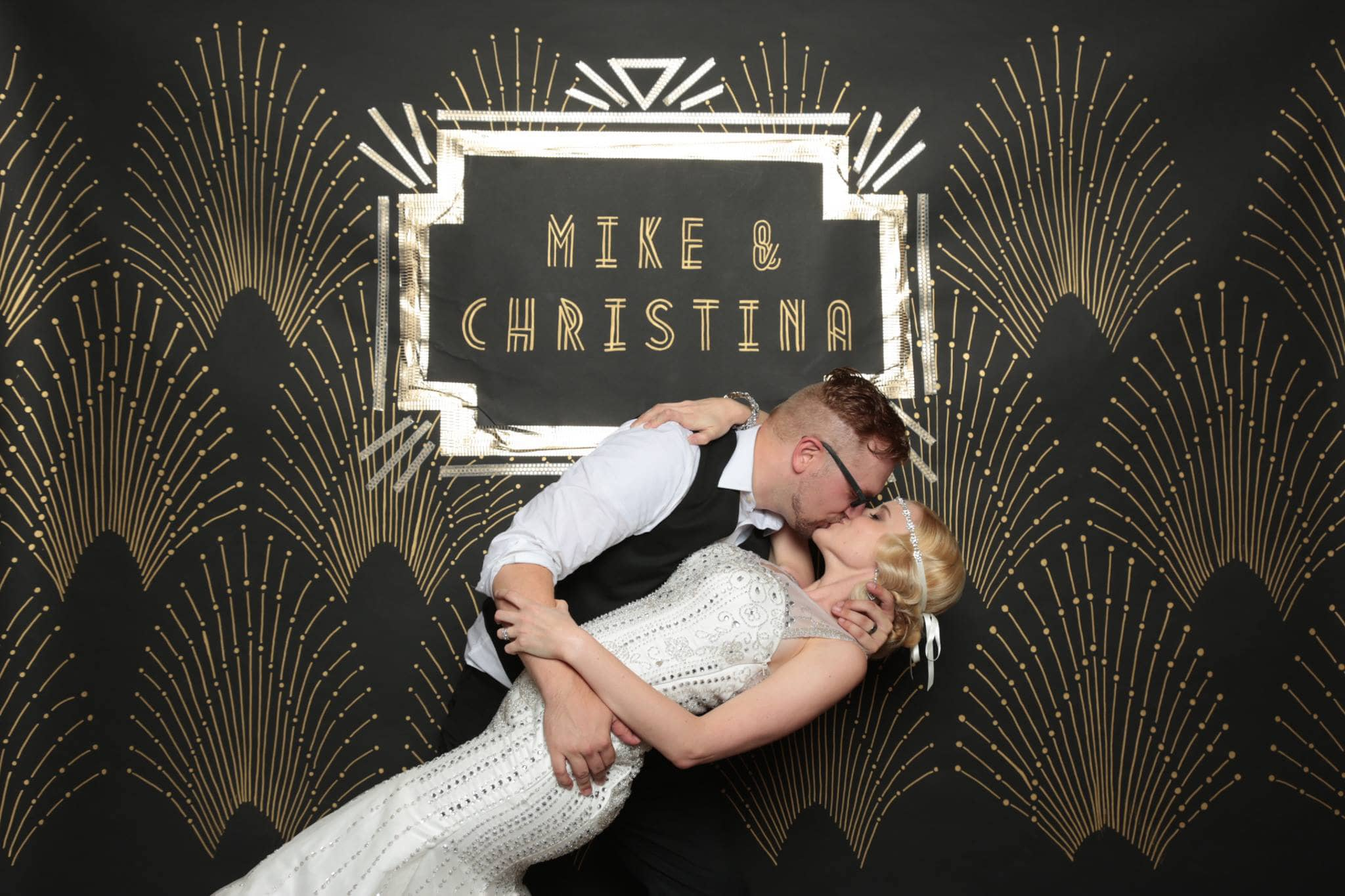 Mike and Christina's hand painted wedding backdrop