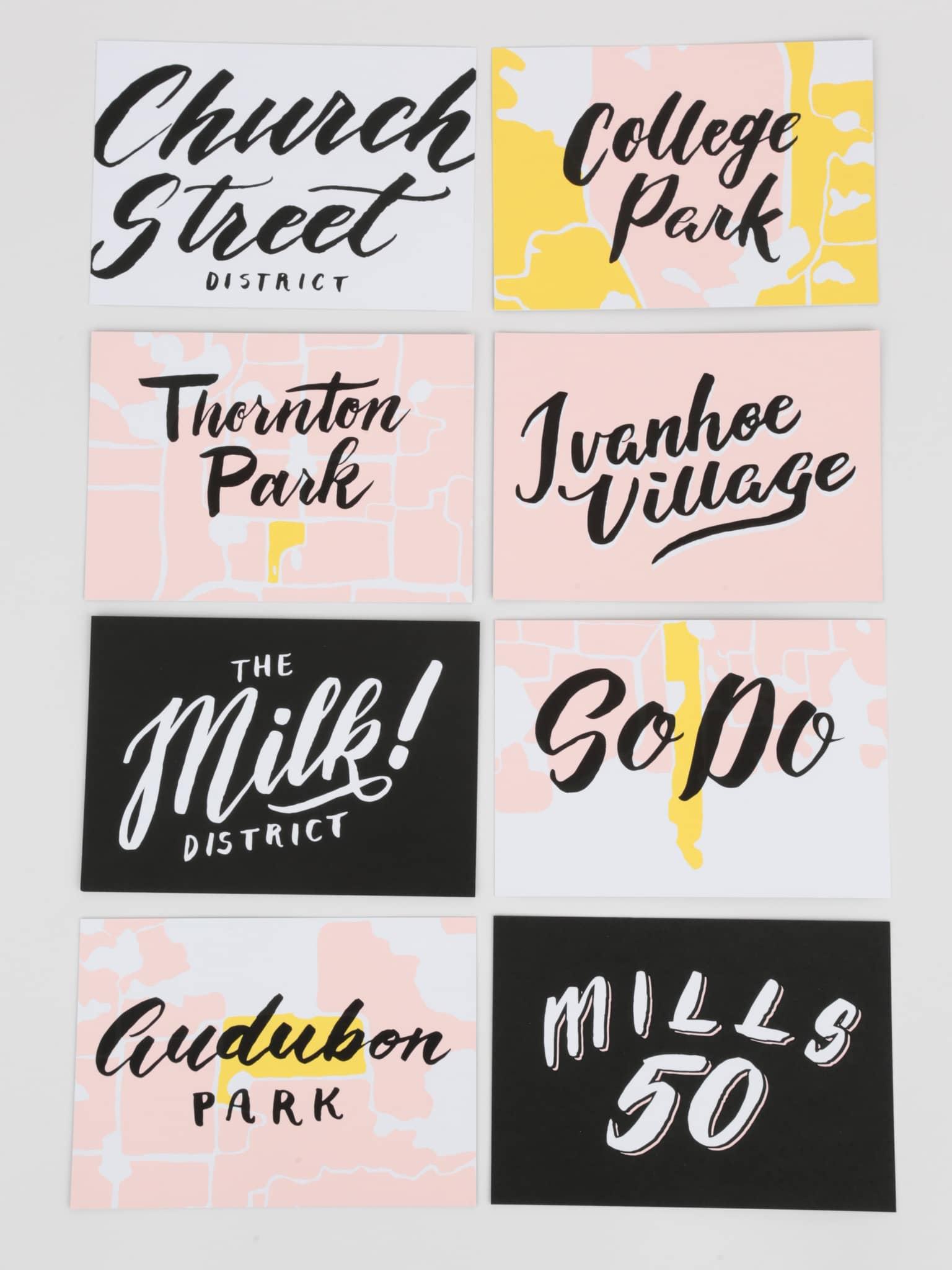 Milk District, Church Street, College Park, Thornton Park, SoDo, Mills 50, Ivanhoe Village, Audubon Park hand lettered postcards by Hillery Powers