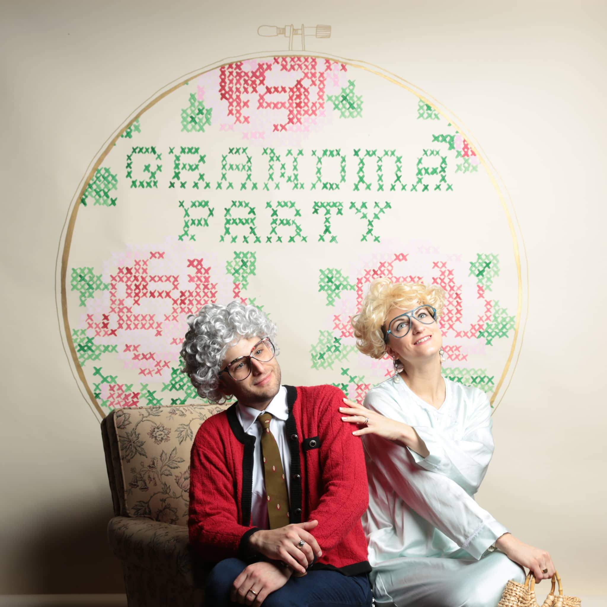 Grandma Party indie holiday market hand painted backdrop for Stardust Orlando