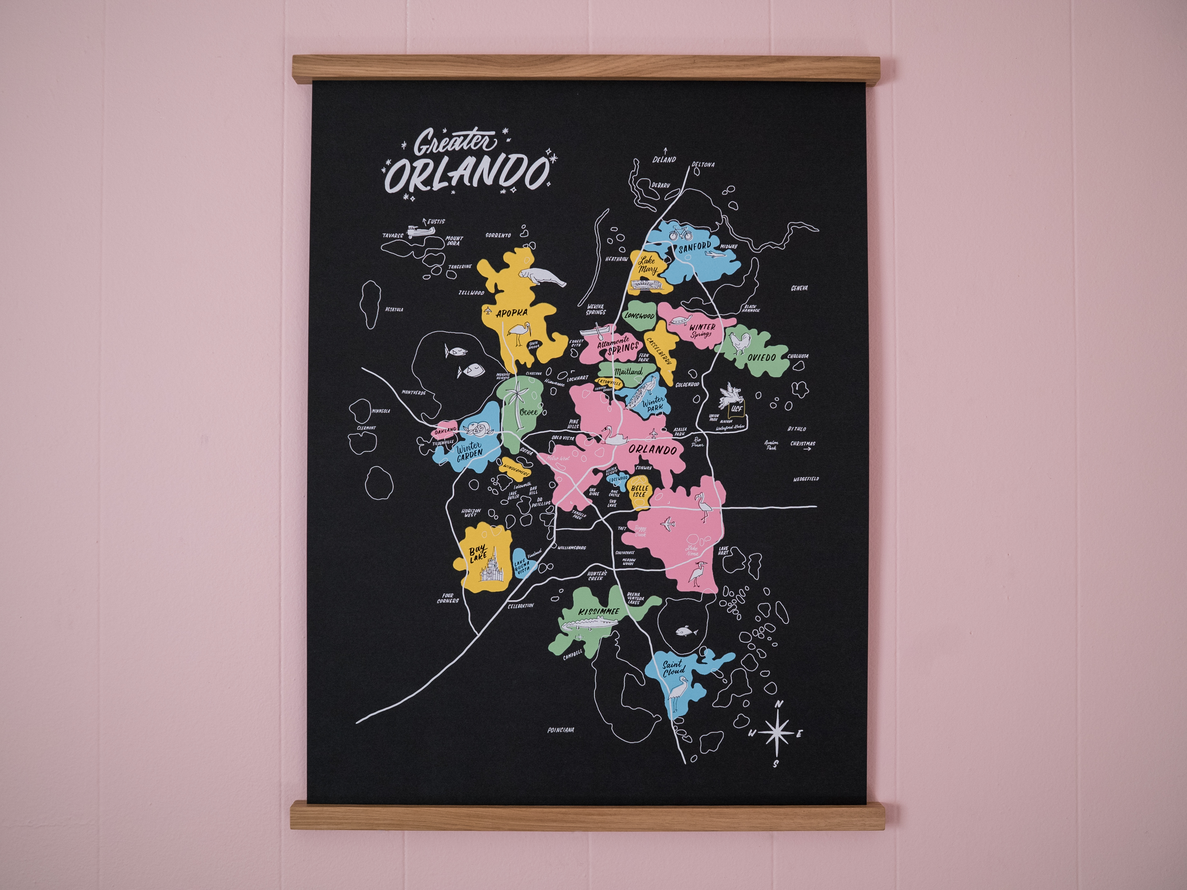 Greater Orlando hand lettering map poster by Hillery Powers (Disney, Winter Park, UCF, Lake Nona, Altamonte Springs)