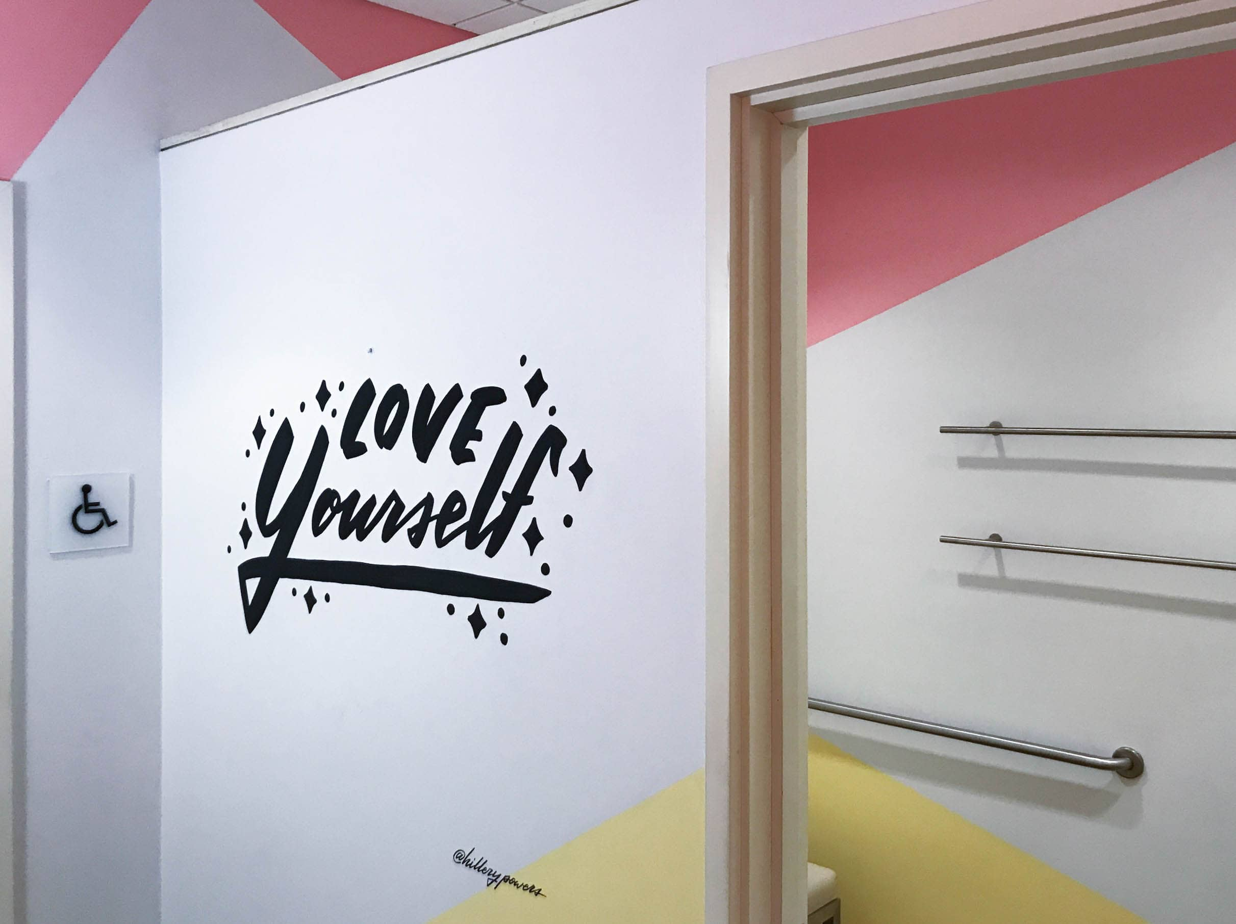 """Love Yourself"" hand-lettering by Hillery Powers Bloomingdales mural"
