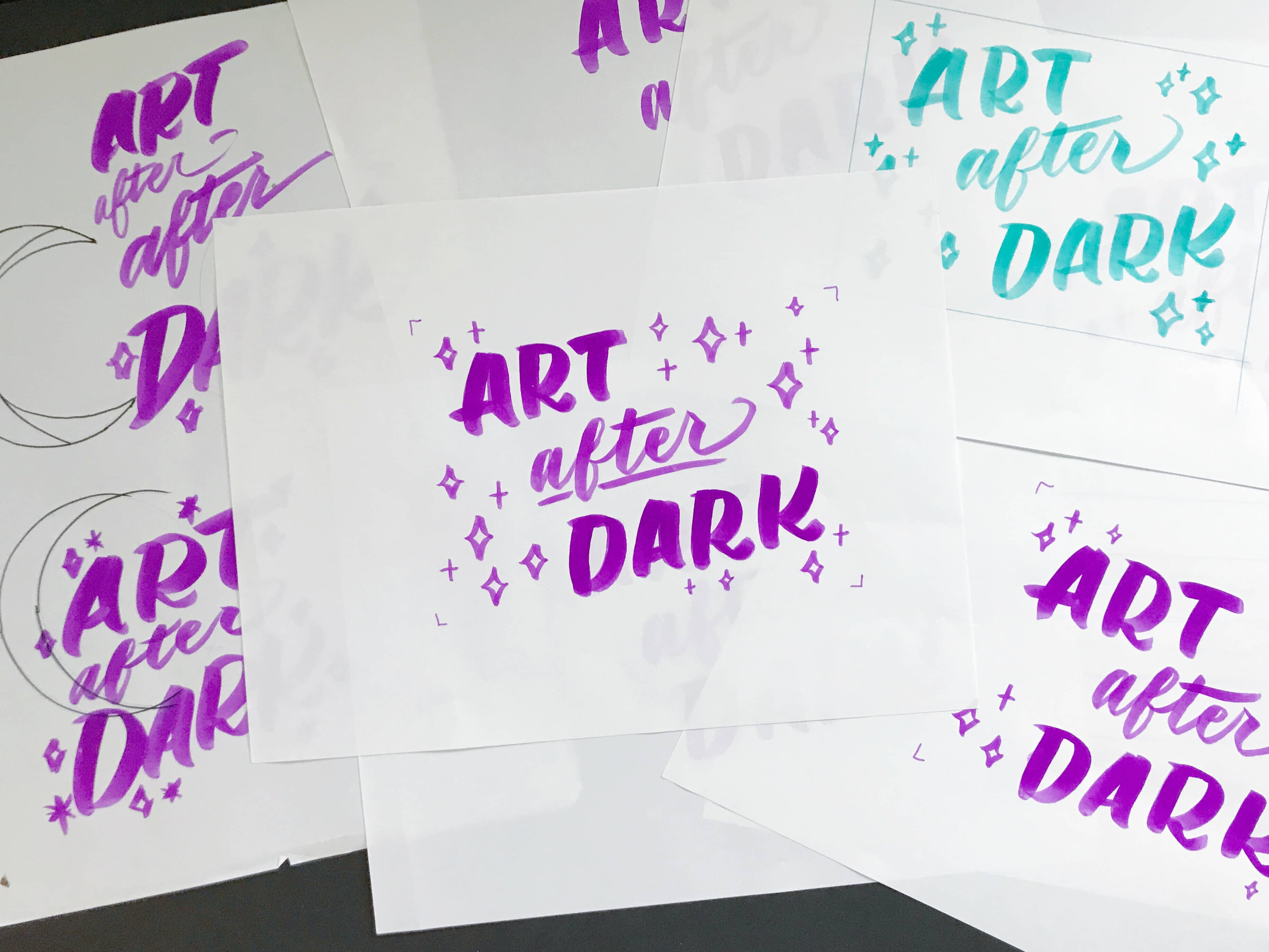 Art After Dark brush lettering by Hillery Powers