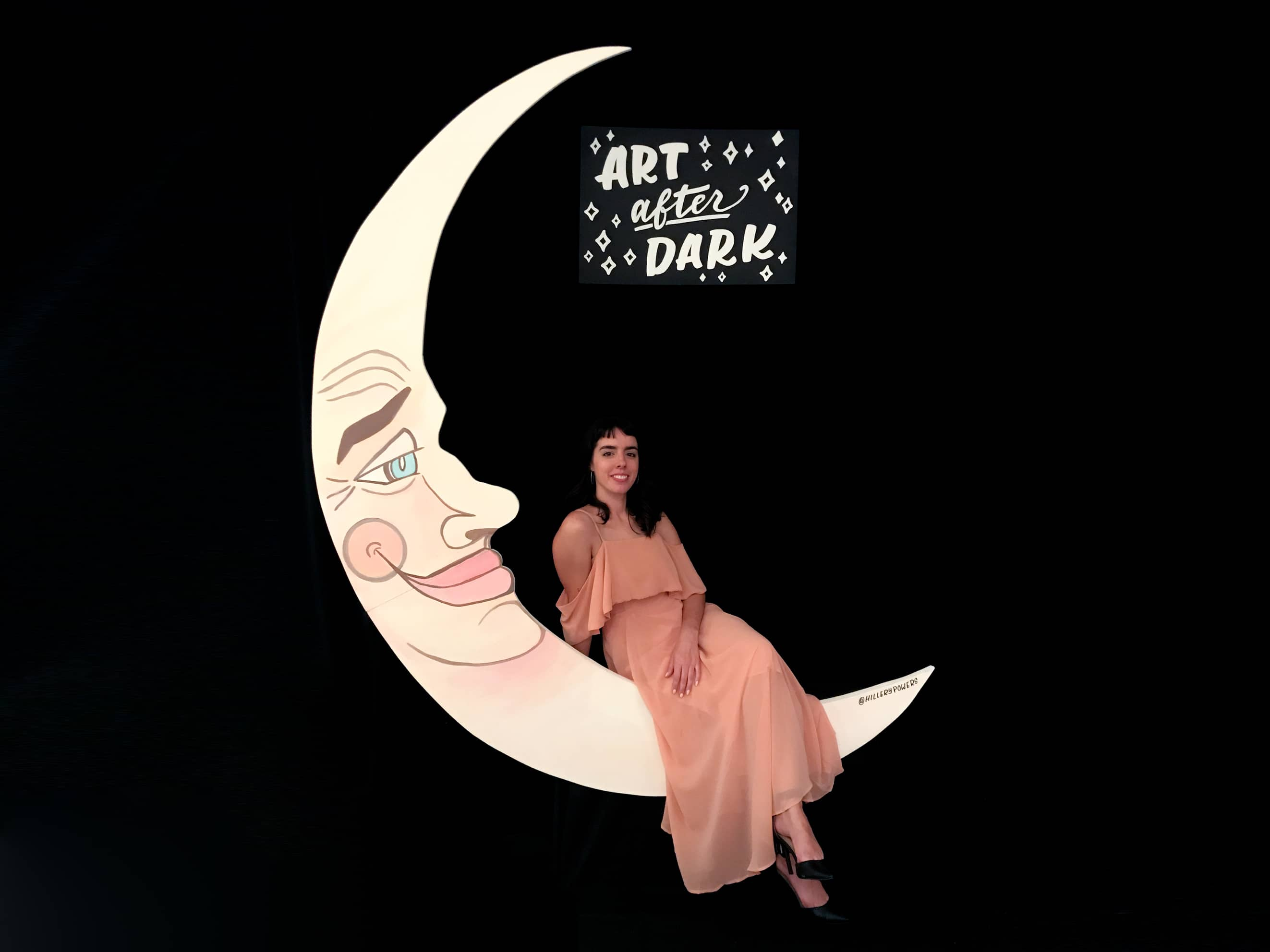 Art After Dark hand lettered sign for Paper Moon Photo Booth at Downtown Arts District event by Hillery Powers