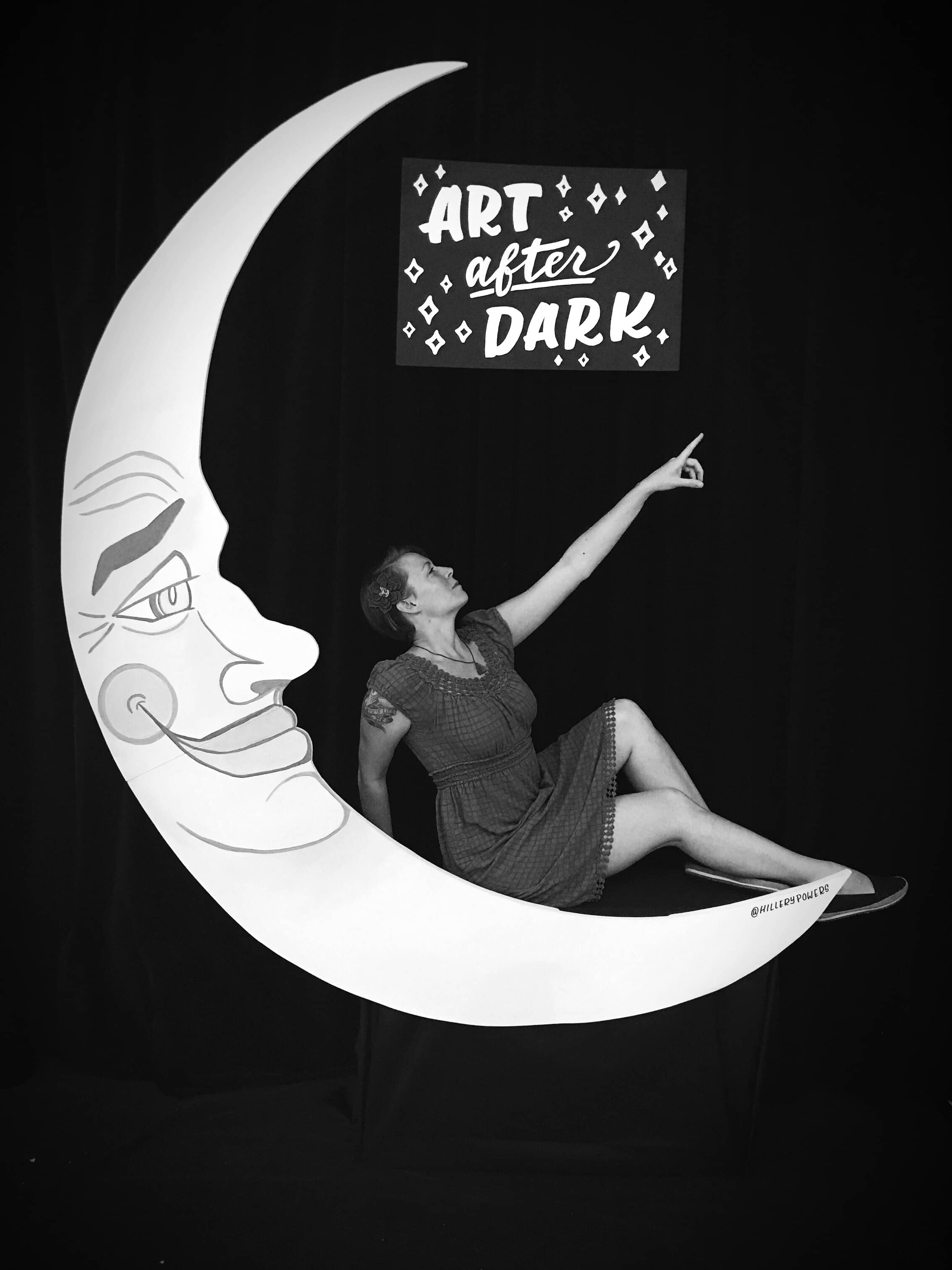 Paper Moon photo booth for Art After Dark by Hillery Powers
