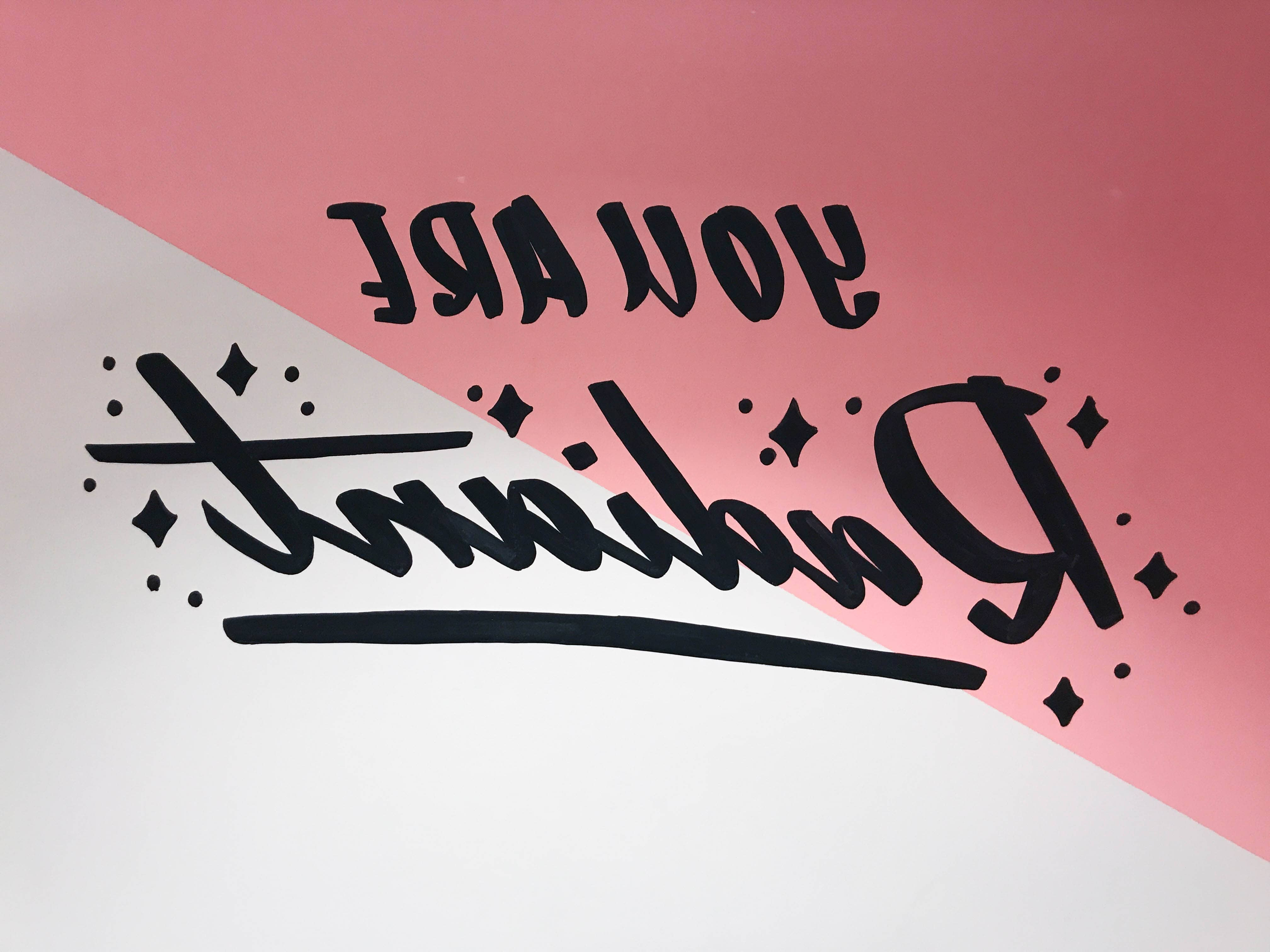 """""""You are Radiant"""" hand-lettering by Hillery Powers Bloomingdales fitting room mural"""