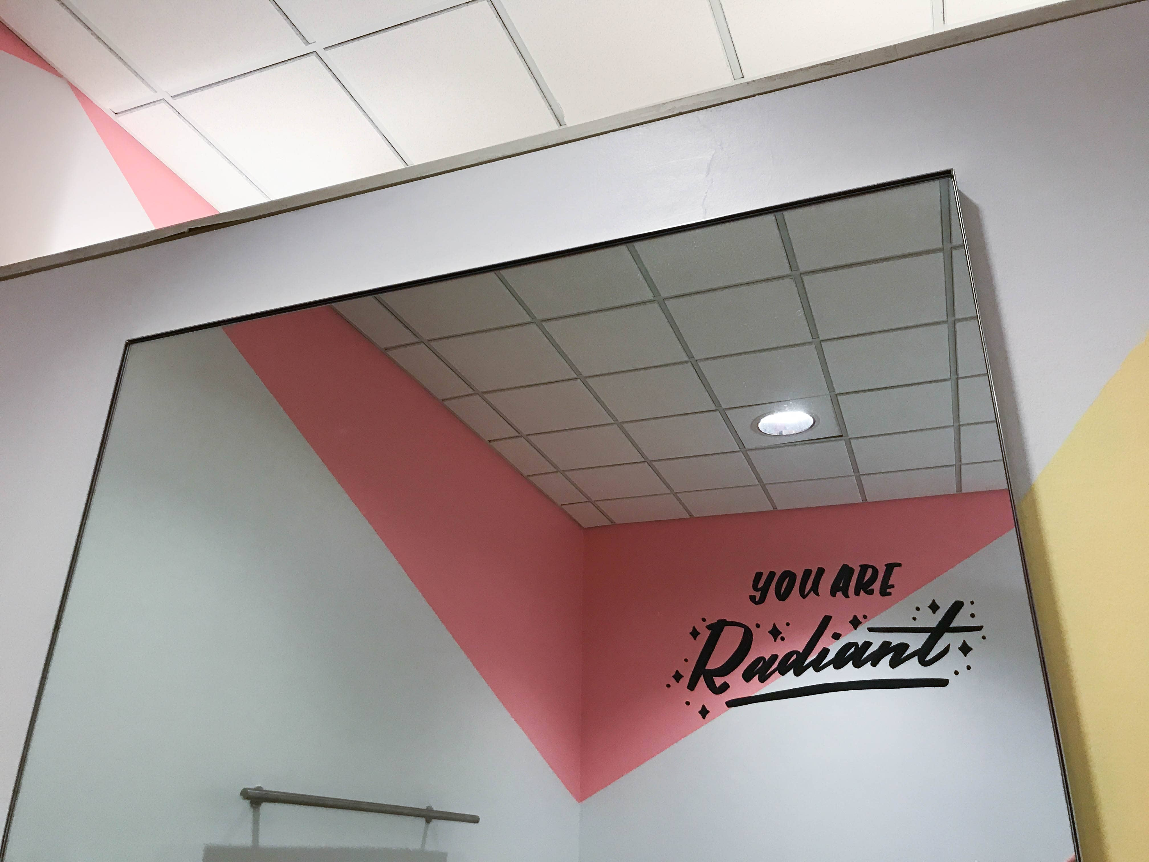 """You are Radiant"" hand-lettering by Hillery Powers Bloomingdales fitting room mural"