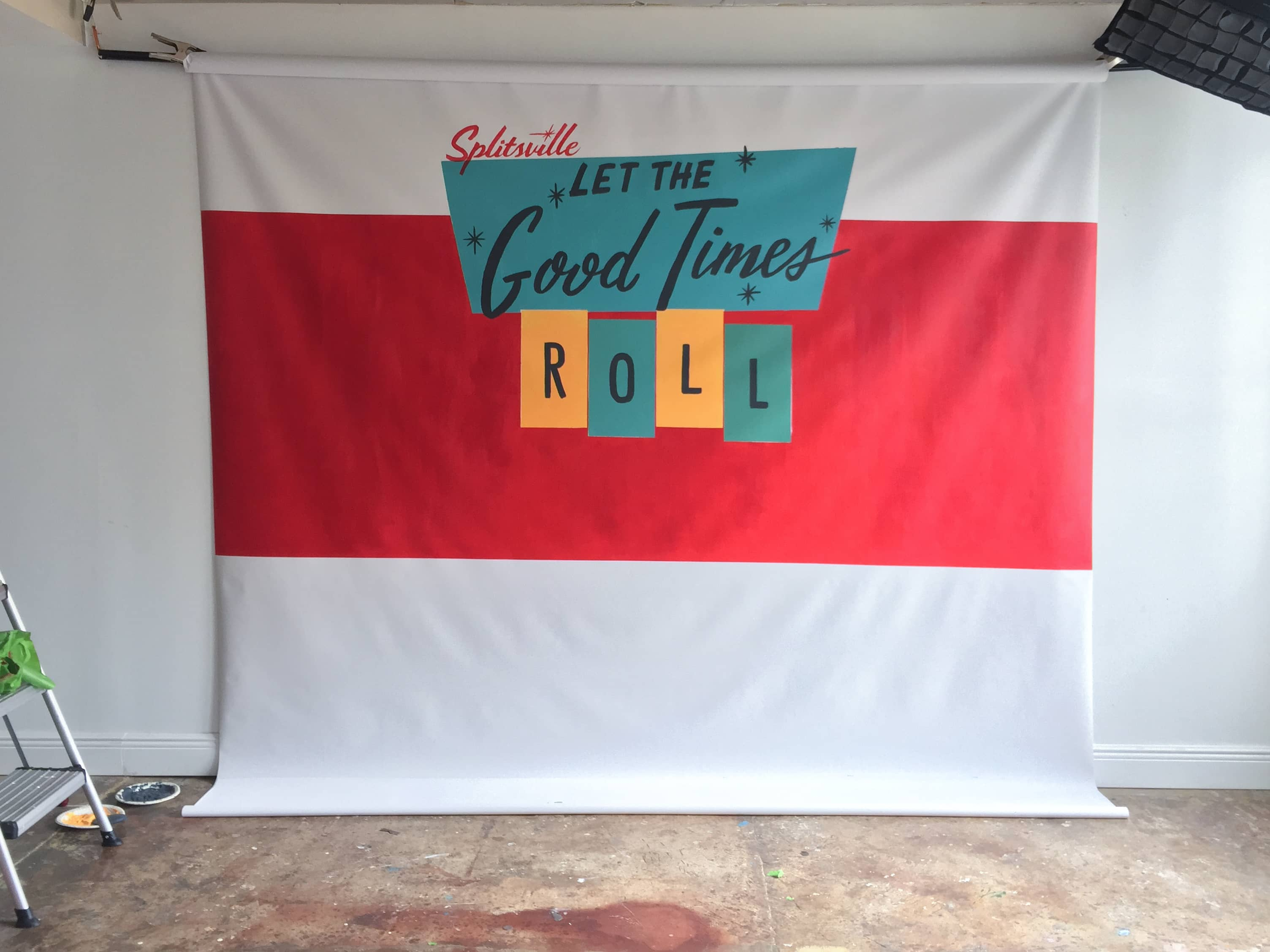 Let the Good Times Roll hand lettered Splitsville backdrop