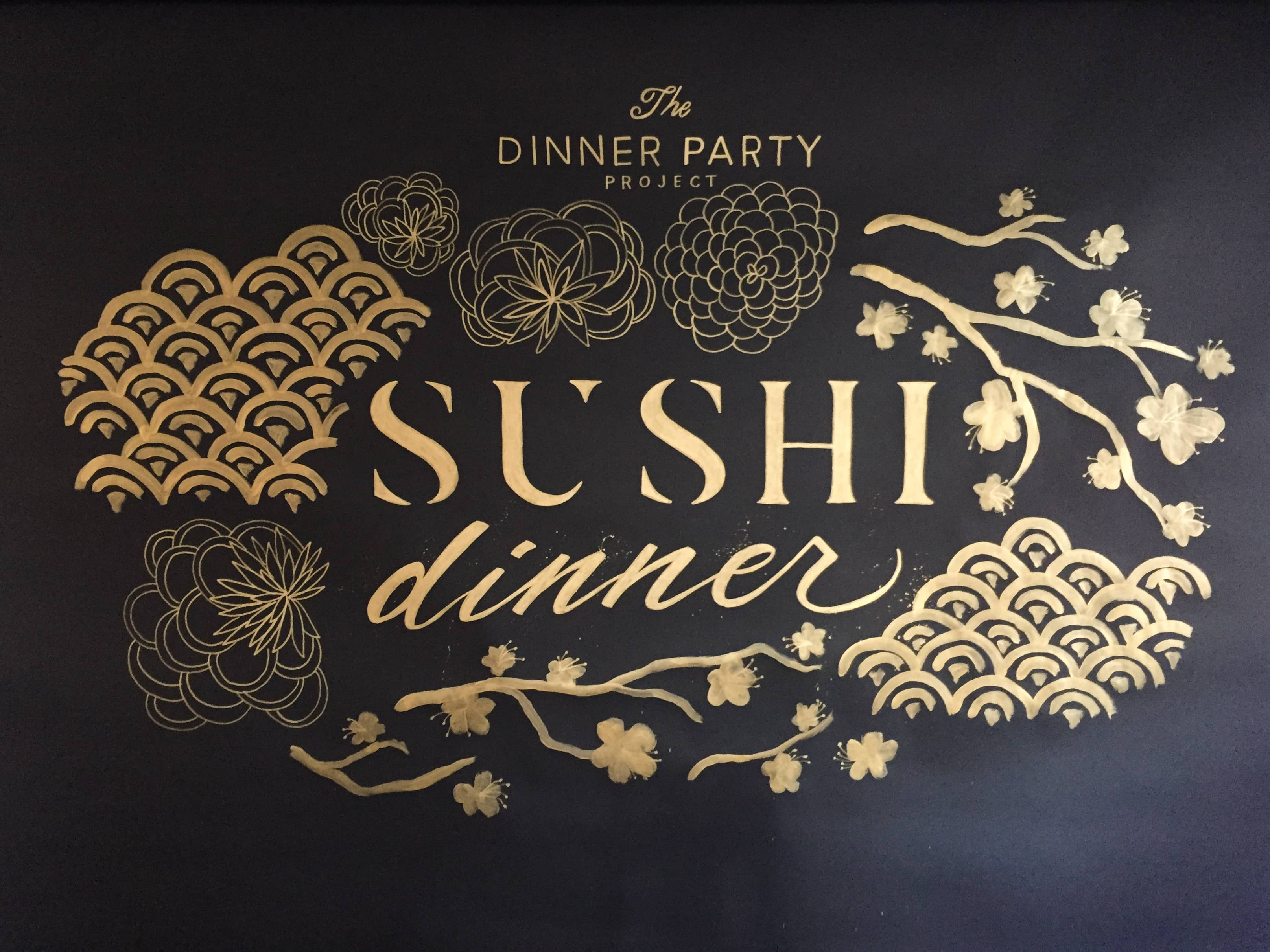 The Dinner Party Project hand lettered backdrop