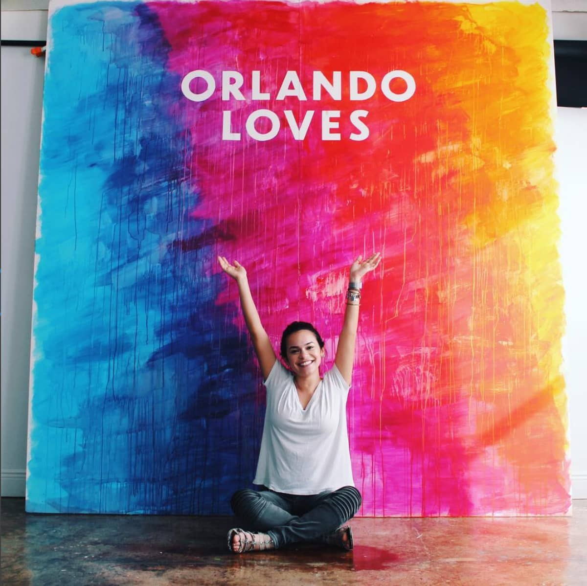 Orlando Loves hand painted rainbow backdrop for Zebra Coalition by Hillery Powers
