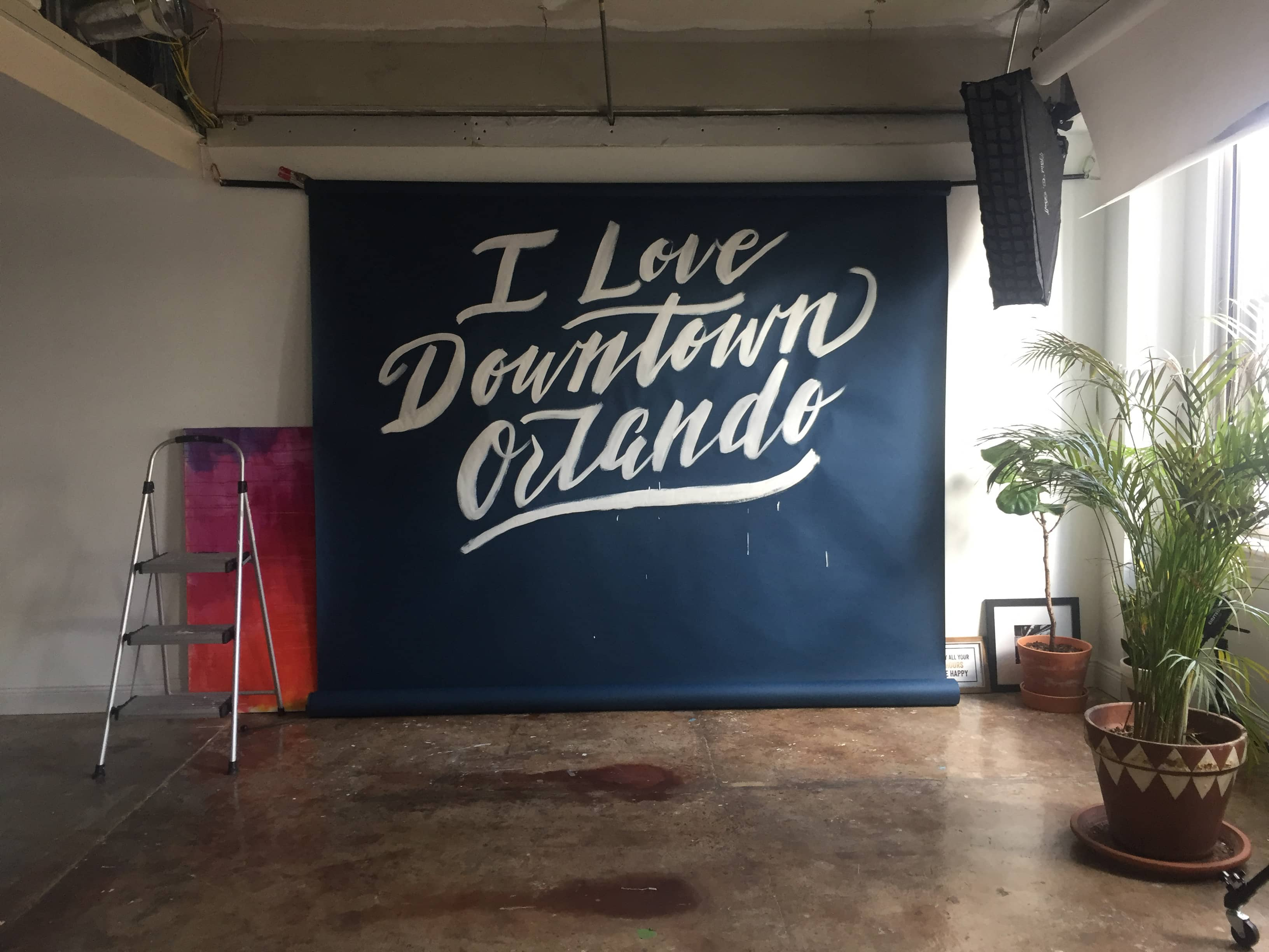 I Love Downtown Orlando hand lettered backdrop for DOP