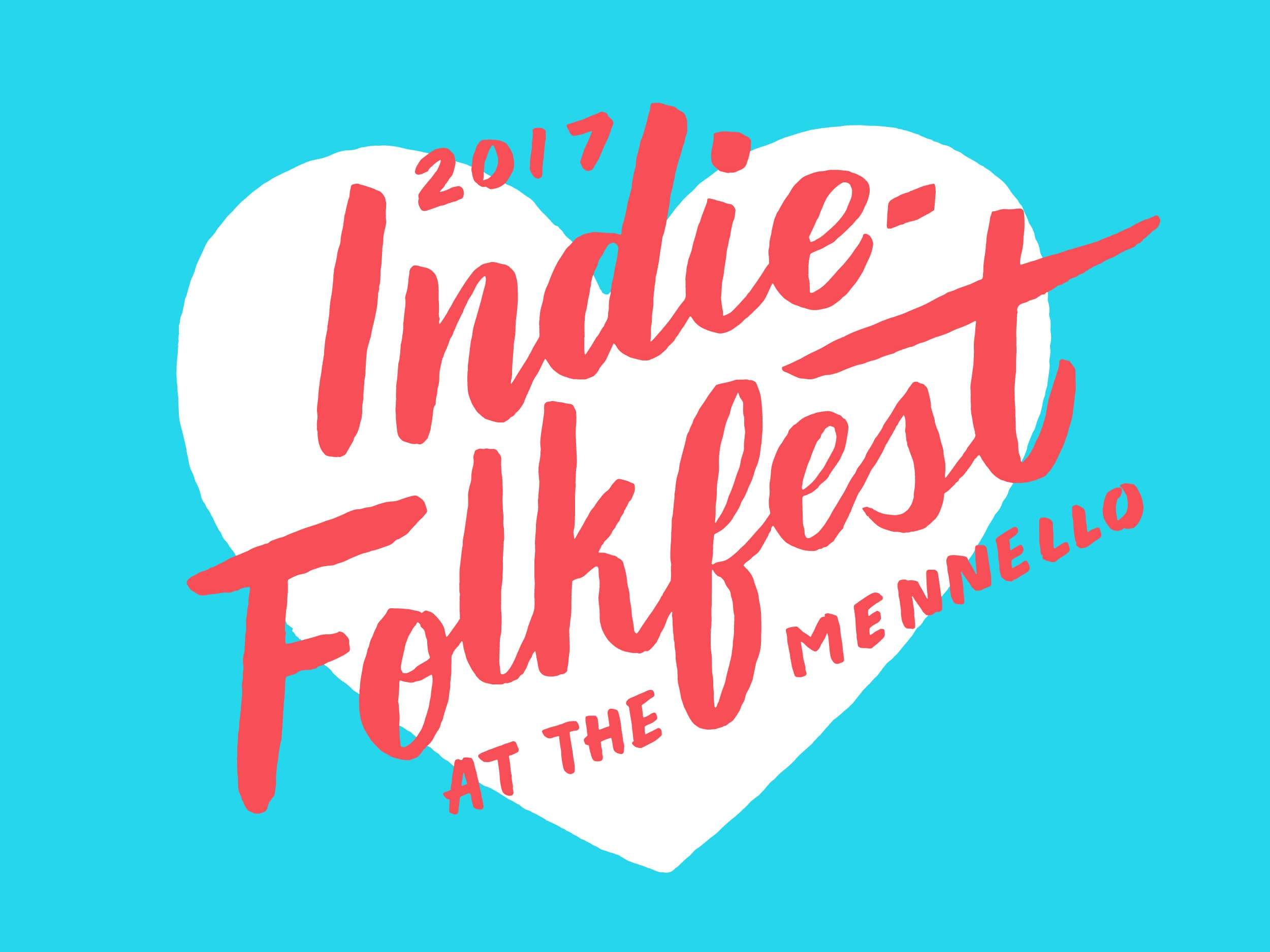 Indie-Folkfest hand lettered logo by Hillery Powers for Mennello Museum indie festival