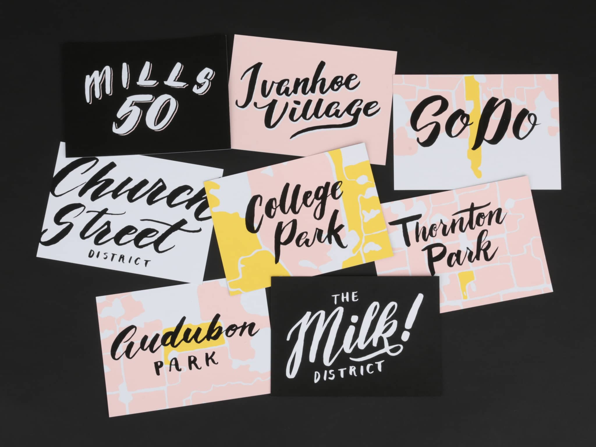 Orlando Main Street District hand lettered postcards by Hillery Powers