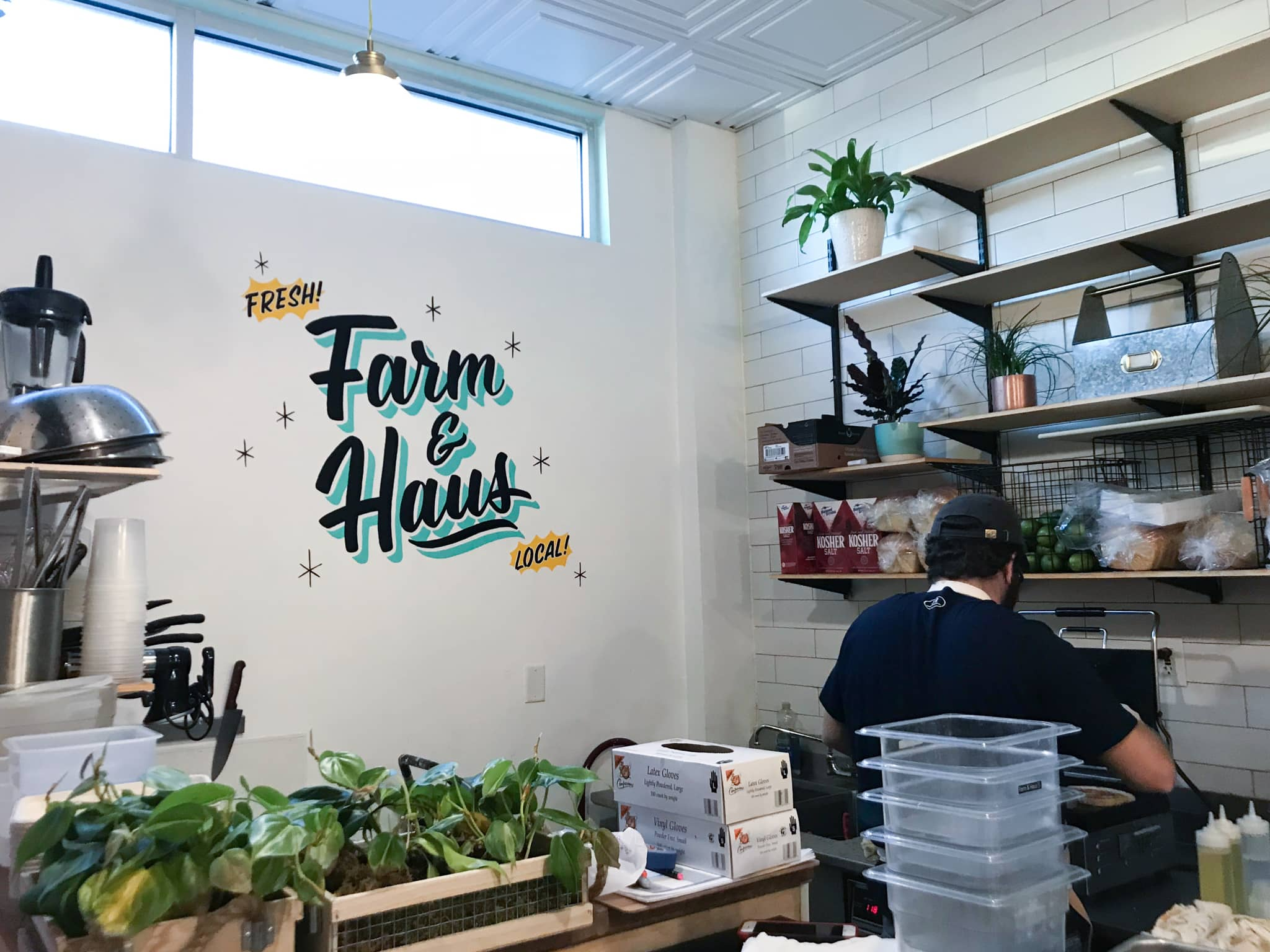 Farm & Haus hand lettered sign painted mural at East End Market by Hillery Powers