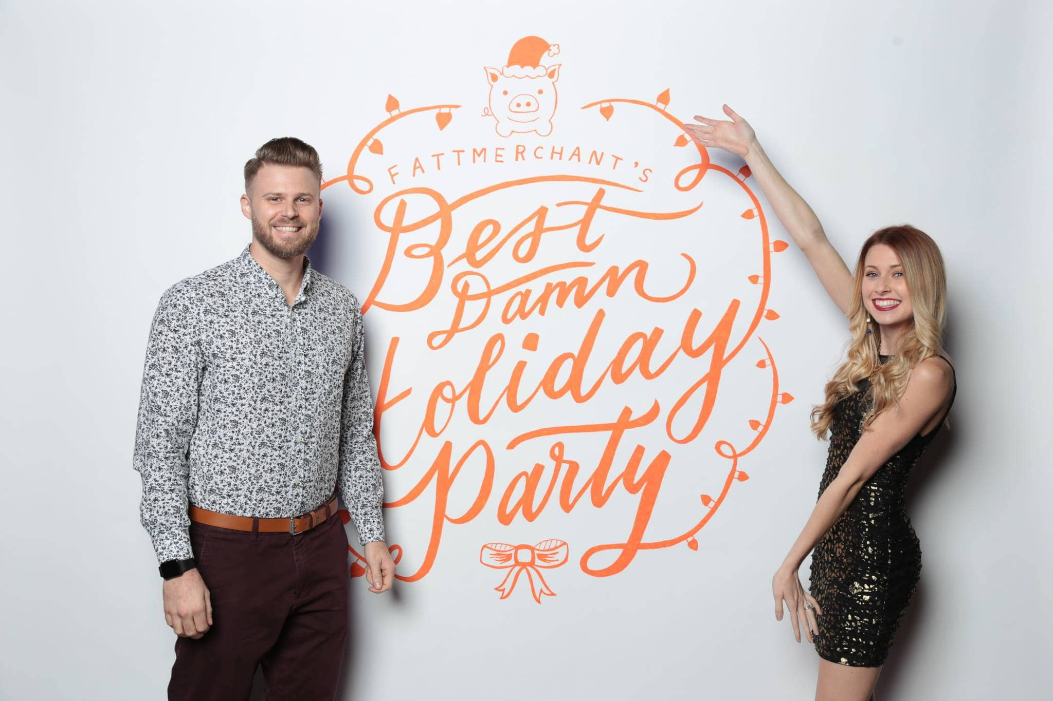 Hand lettered Fattmerchant holiday photo booth backdrop by Hillery Powers