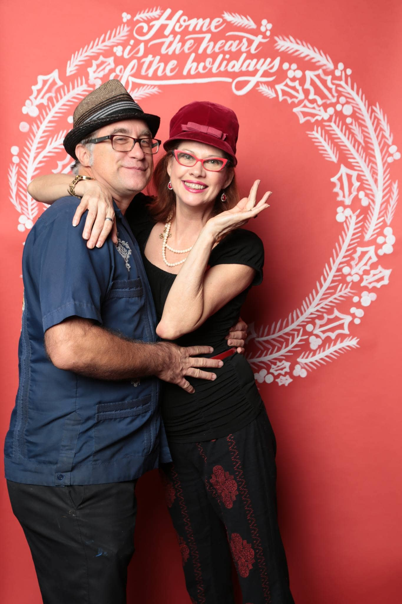 Hand lettered holiday photo booth backdrop by Hillery Powers