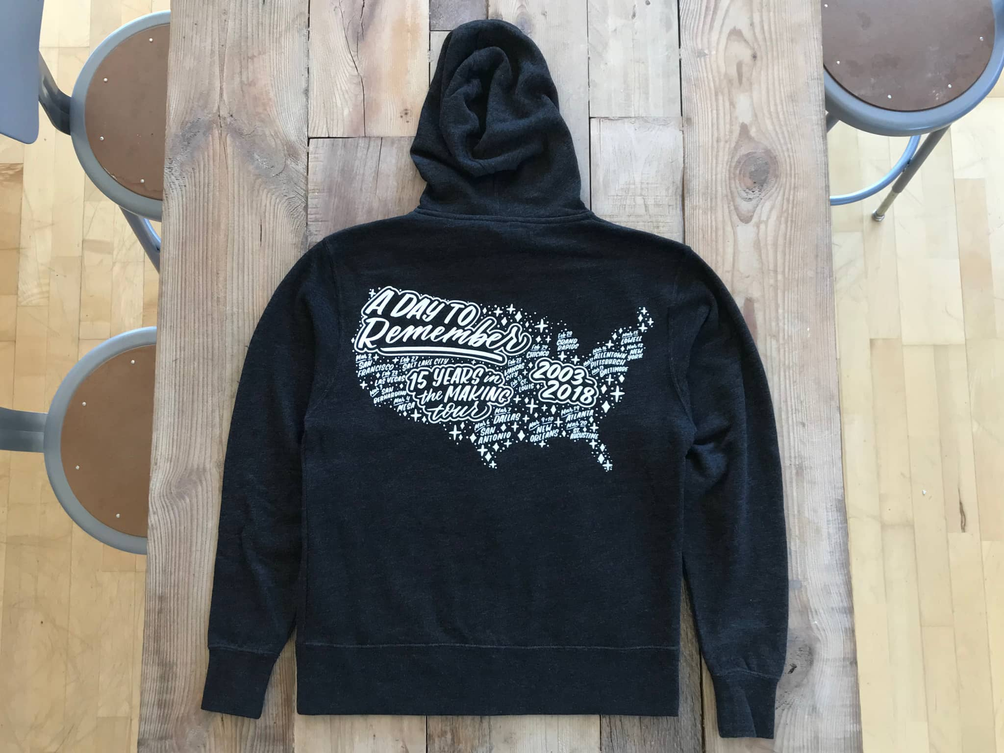 A Day to Remember 15-year tour hoodie hand lettered