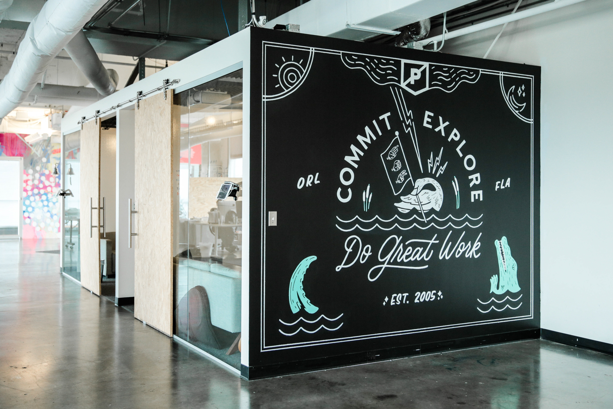 Hand lettered mural for PRPL by Hillery Powers and Secret Society Goods
