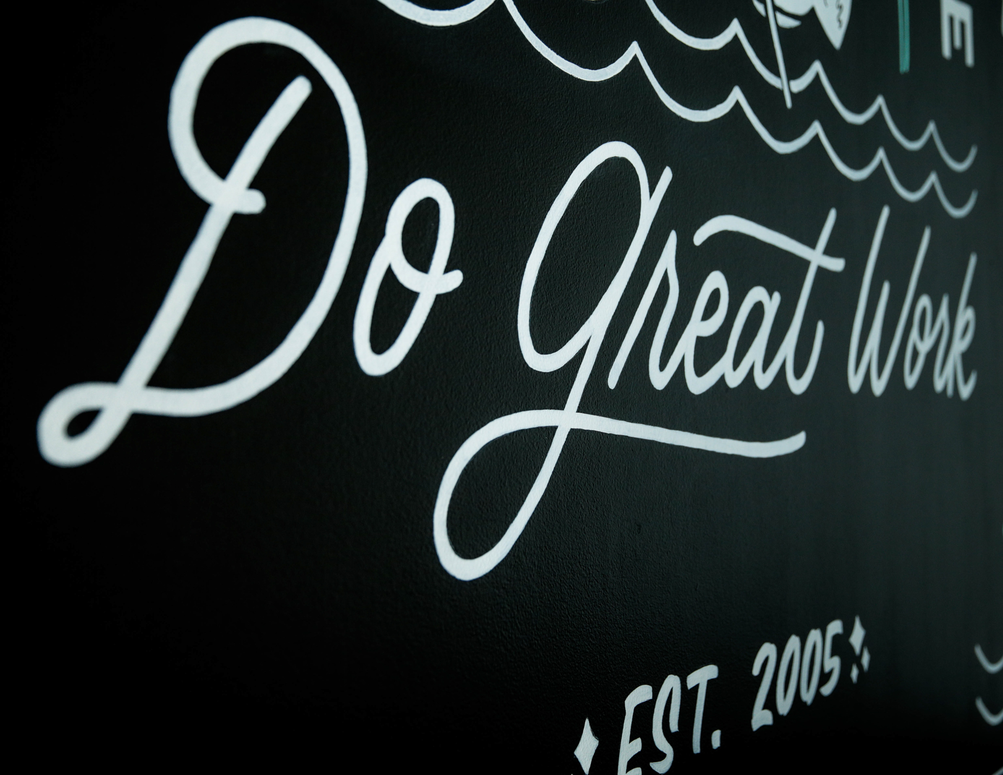 Hand lettered PRPL Do Great Work mural by Hillery Powers and Secret Society Goods