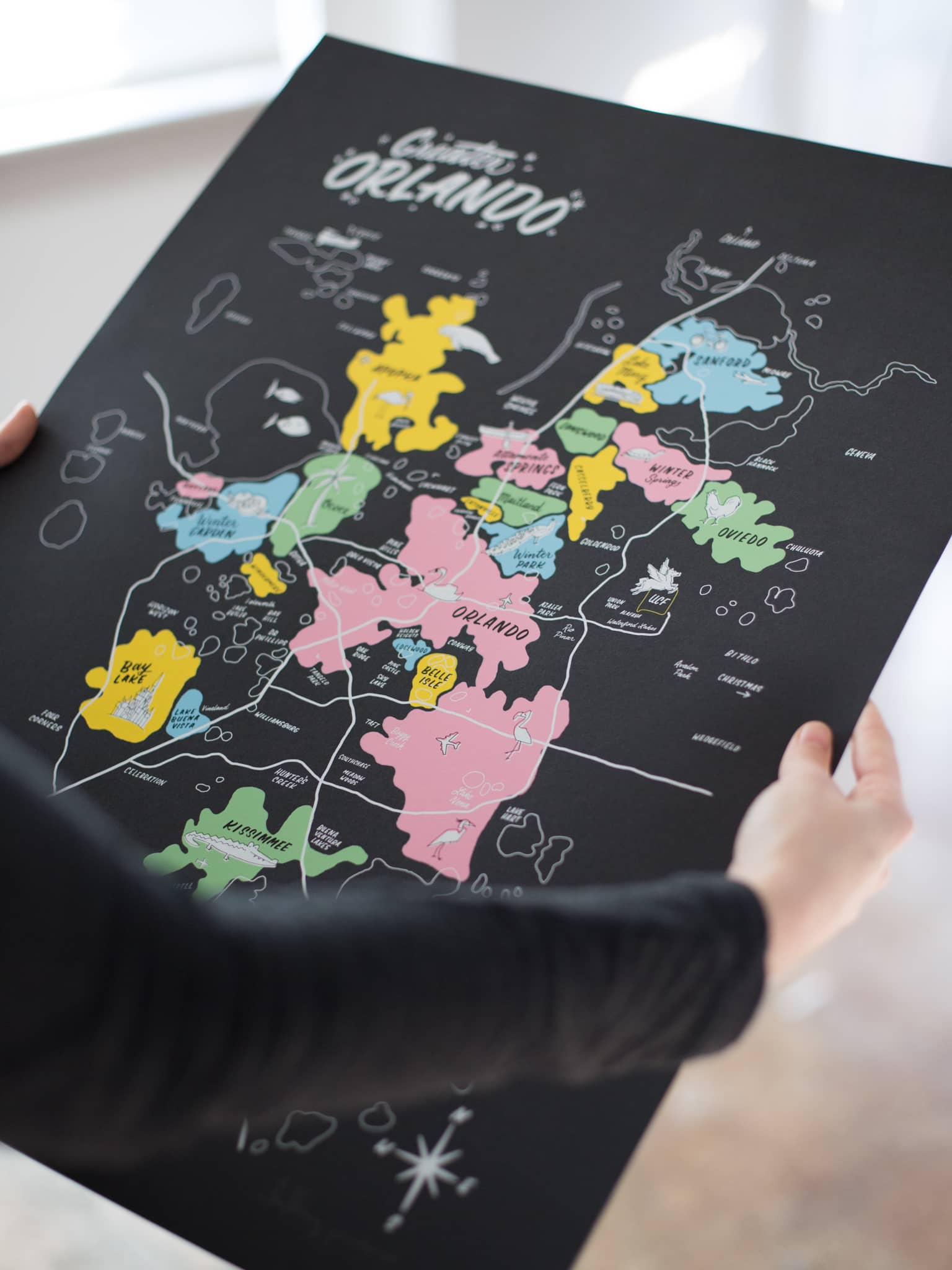 Greater Orlando map print by Hillery Powers