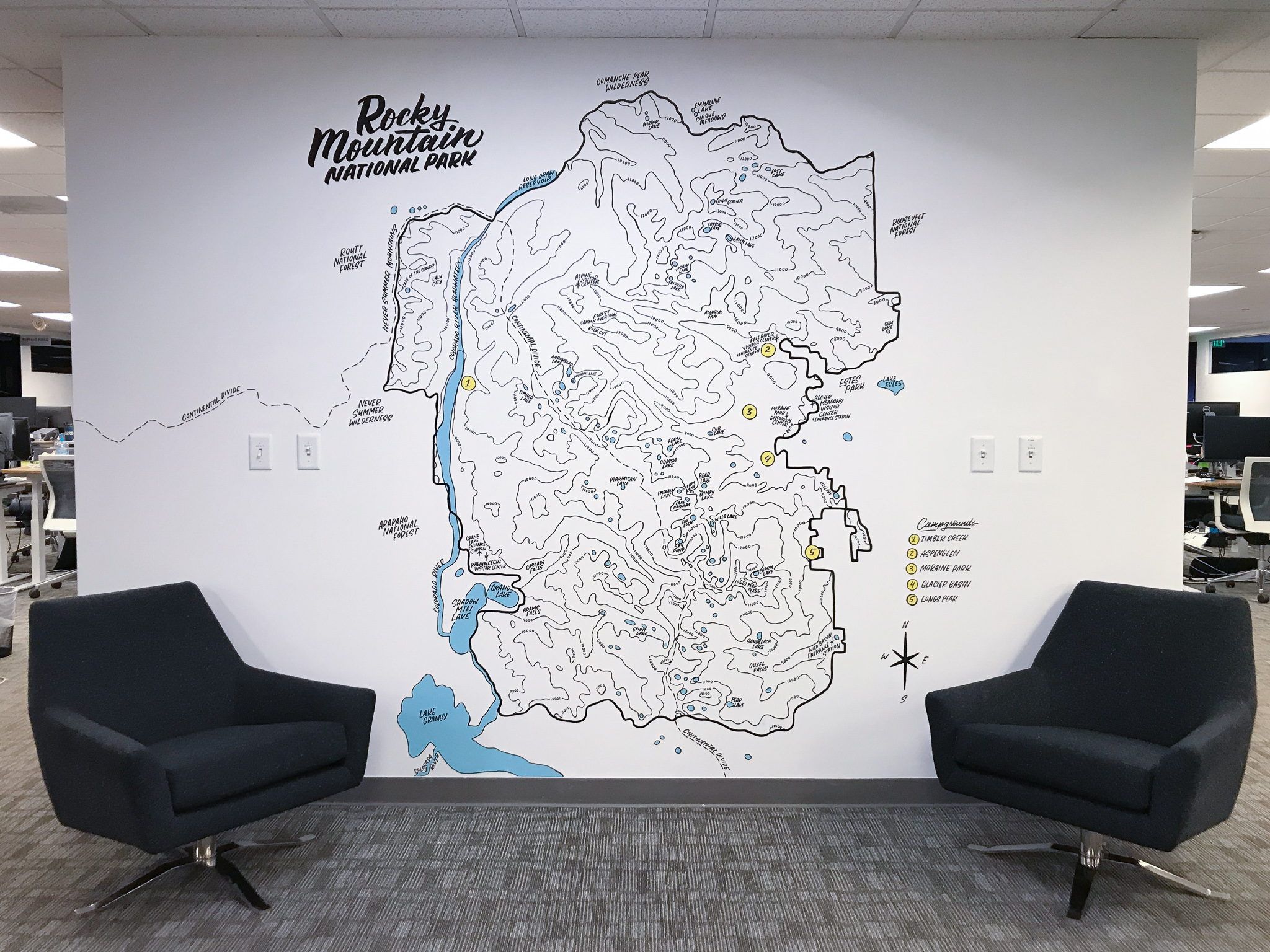 Gusto Denver Colorado Rocky Mountain National Park topographic map map mural by Hillery Powers