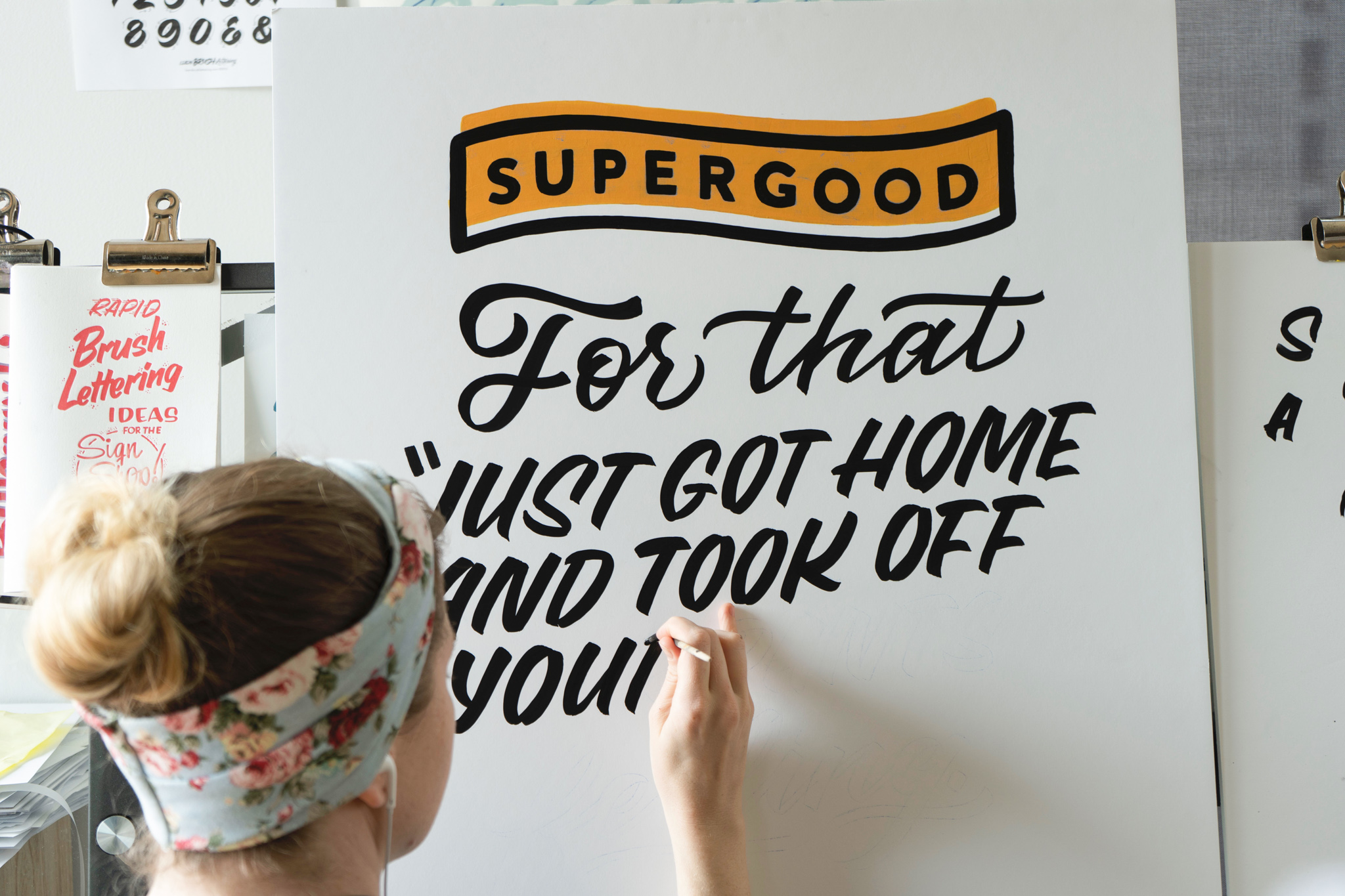 Hand painted sign for Supergood hemp custom painted by Hillery Powers