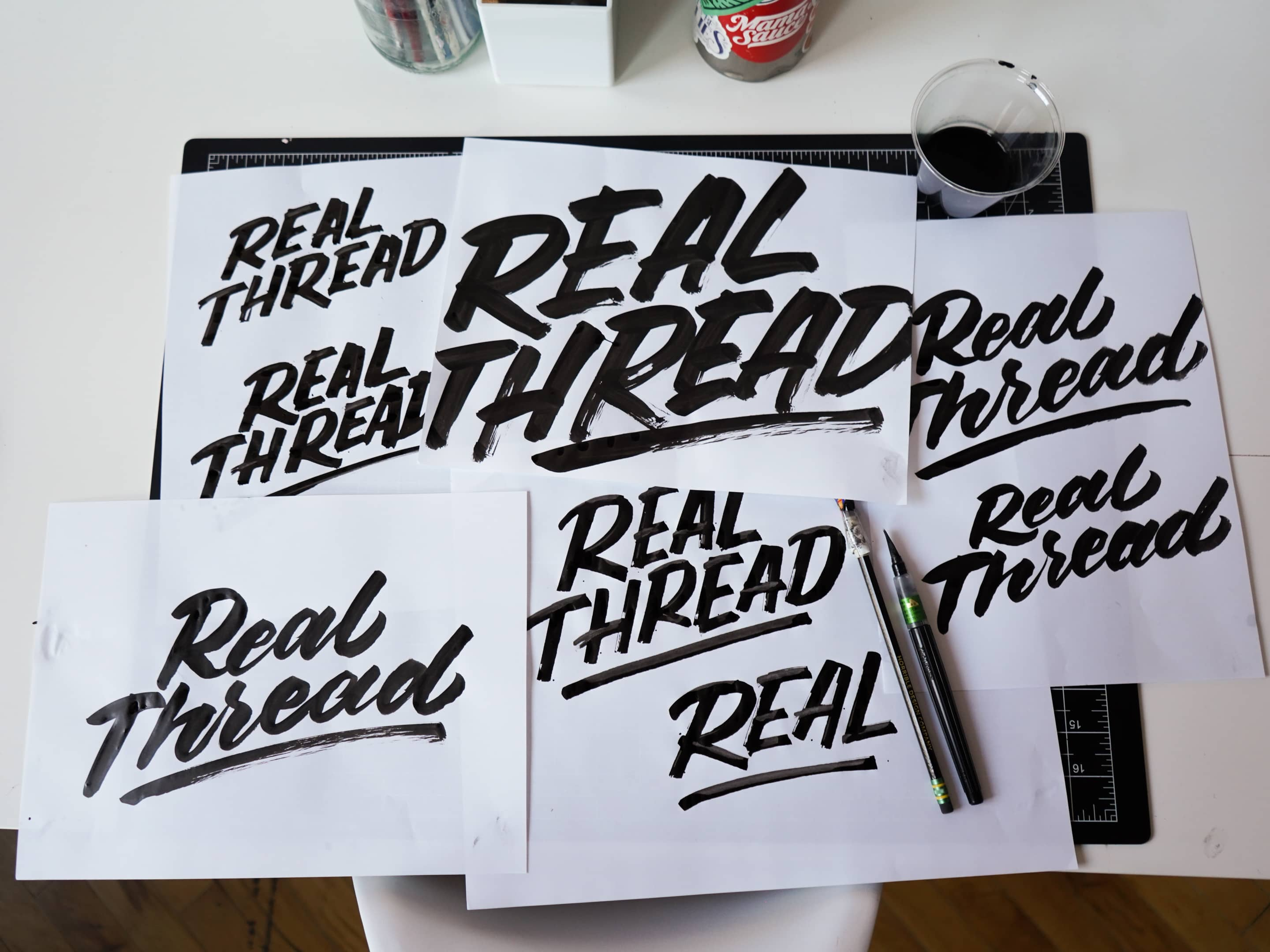 Real Thread lettering sketch